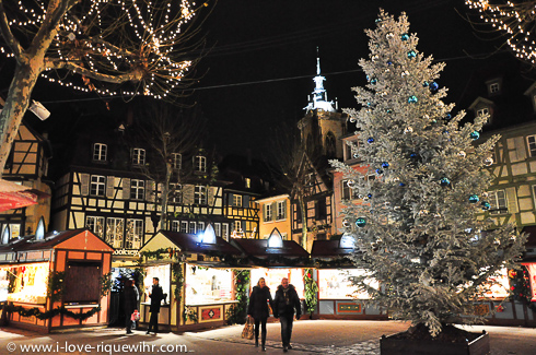Colmar, Alsace. Evening in December near the cathedral