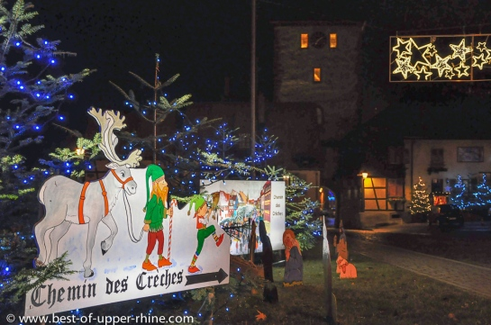 In Bergheim Alsace, the Elves invite the traveler to discover the Trail of Nativity scenes.