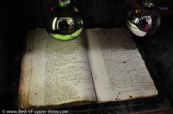 Registre de la ville de Sélestat avec la première mention de sapin de Noël datant de 1521