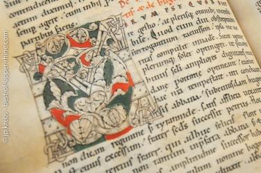 Enluminure. Manuscrit conservé à la Bibliothèque Humaniste de Sélestat.