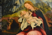 Vierge à l'enfant. Vue partielle du célèbre retable d'Issenheim. Musée Unterlinden, Colmar