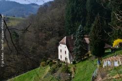 Ferme traditionnelle dans les Vosges. Dans la montée vers le col de Fouchy, près de La Vancelle