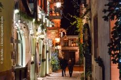 Rue de l'Oriel à Riquewihr en décembre.