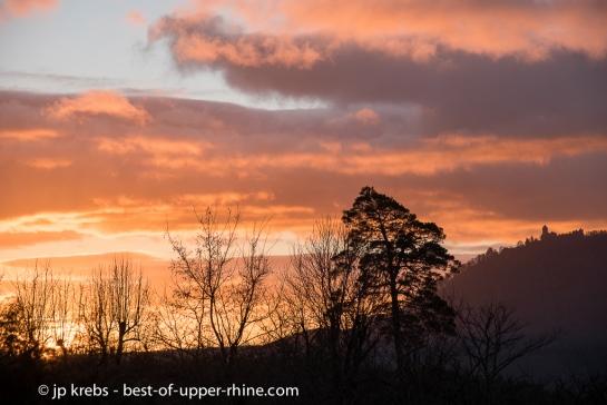La Vancelle : Lever de soleil sur la montagne du Haut-Koenigsbourg