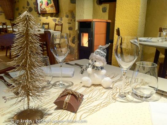 Table de fête au restaurant Au Trotthus à Riquewihr