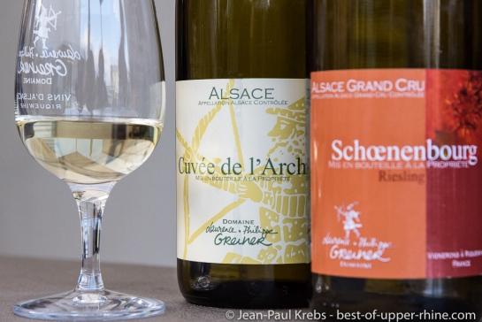 La cuvée de l'Archer, vin d'assemblage de muscat, pinot gris et riesling, est l'un des grands succès du domaine Greiner.