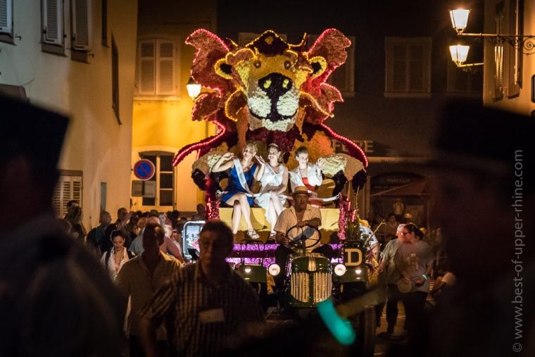 Parade nocturne du corso fleuri de Sélestat.